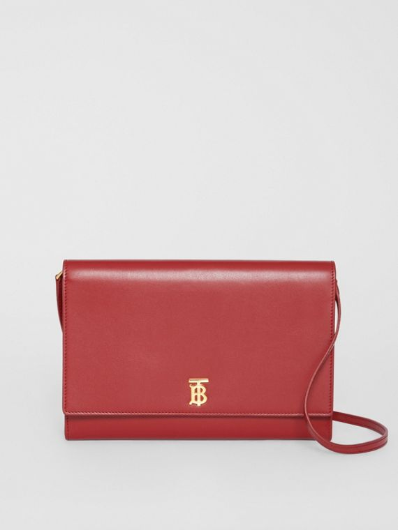 Monogram Motif Leather Bag with Detachable Strap in Crimson