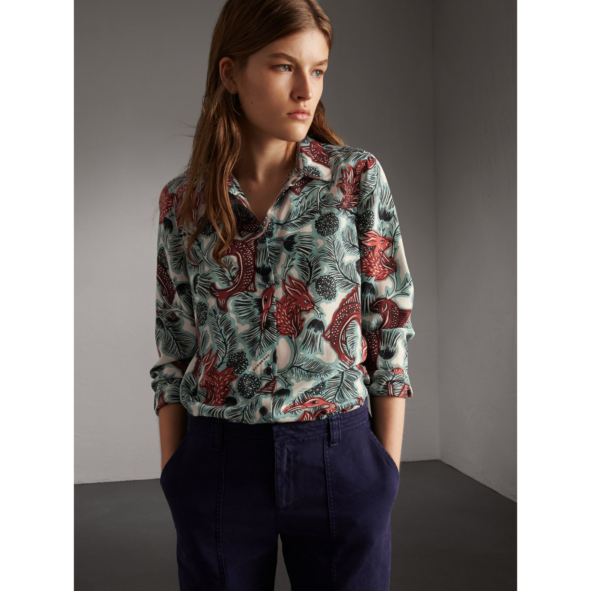 Beasts Print Silk Shirt - Women | Burberry - gallery image 4