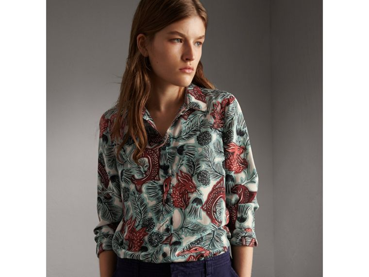 Beasts Print Silk Shirt in Pale Celadon - Women | Burberry - cell image 4