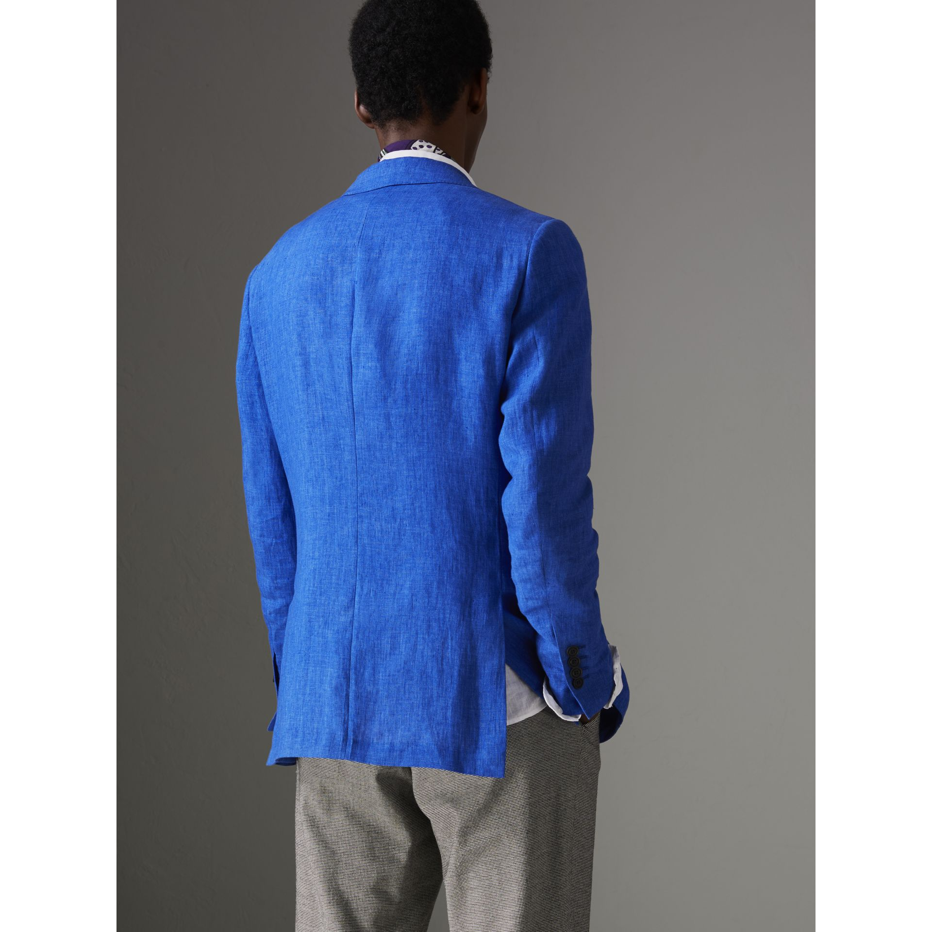 Soho Fit Linen Tailored Jacket in Violet Blue - Men | Burberry - gallery image 2