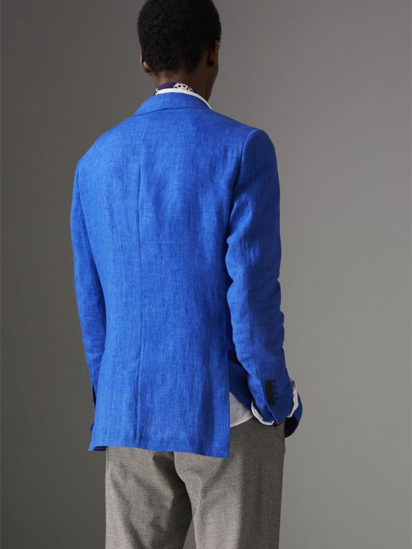 Soho Fit Linen Tailored Jacket in Violet Blue - Men | Burberry Singapore - cell image 2