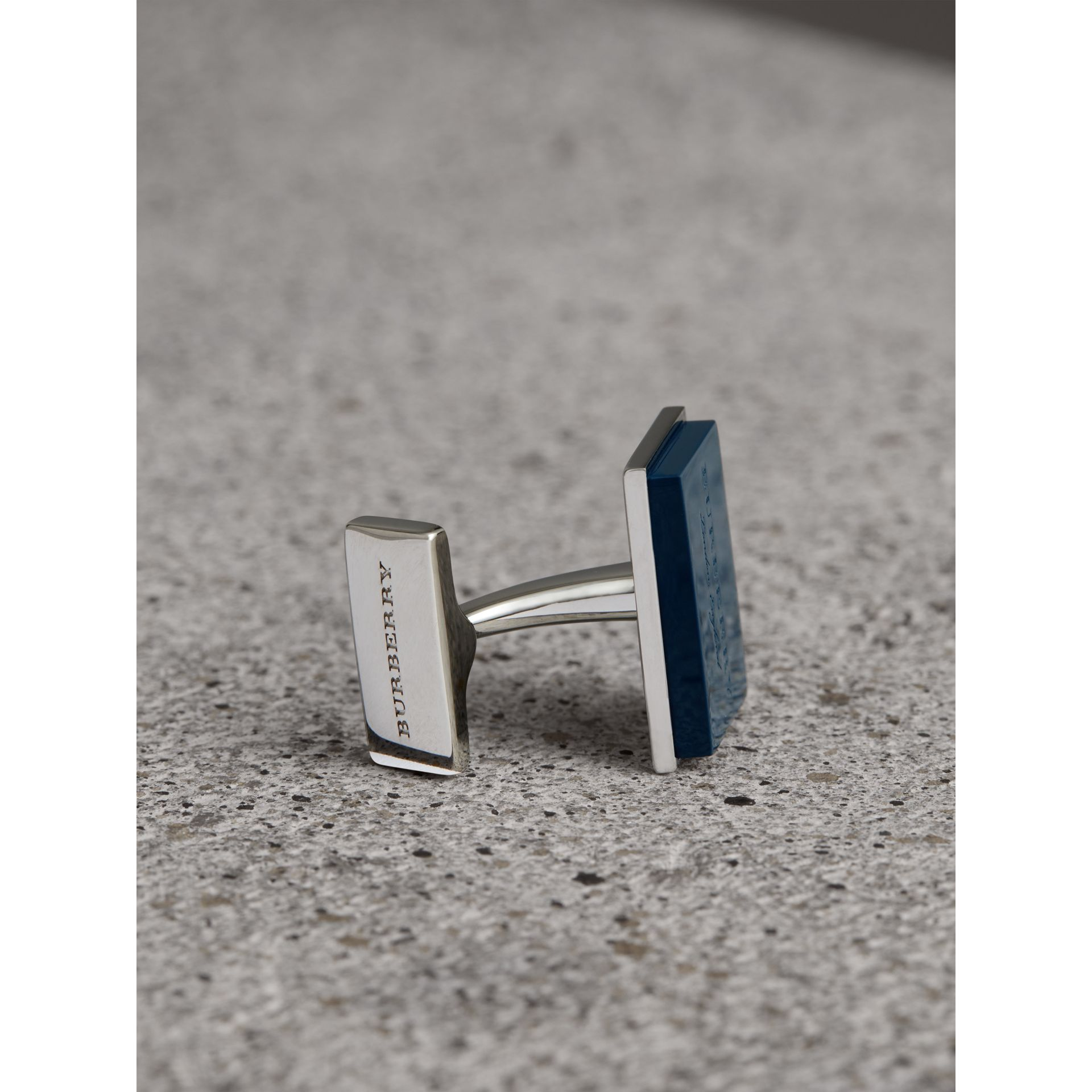 Engraved Enamel Cufflinks in Regency Blue - Men | Burberry - gallery image 1