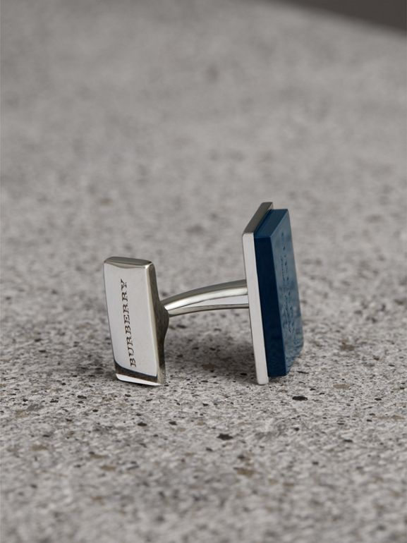 Engraved Enamel Cufflinks in Regency Blue - Men | Burberry United Kingdom - cell image 1