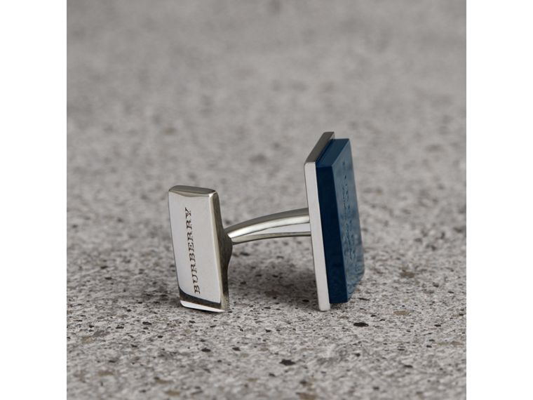 Engraved Enamel Cufflinks in Regency Blue - Men | Burberry Singapore - cell image 1