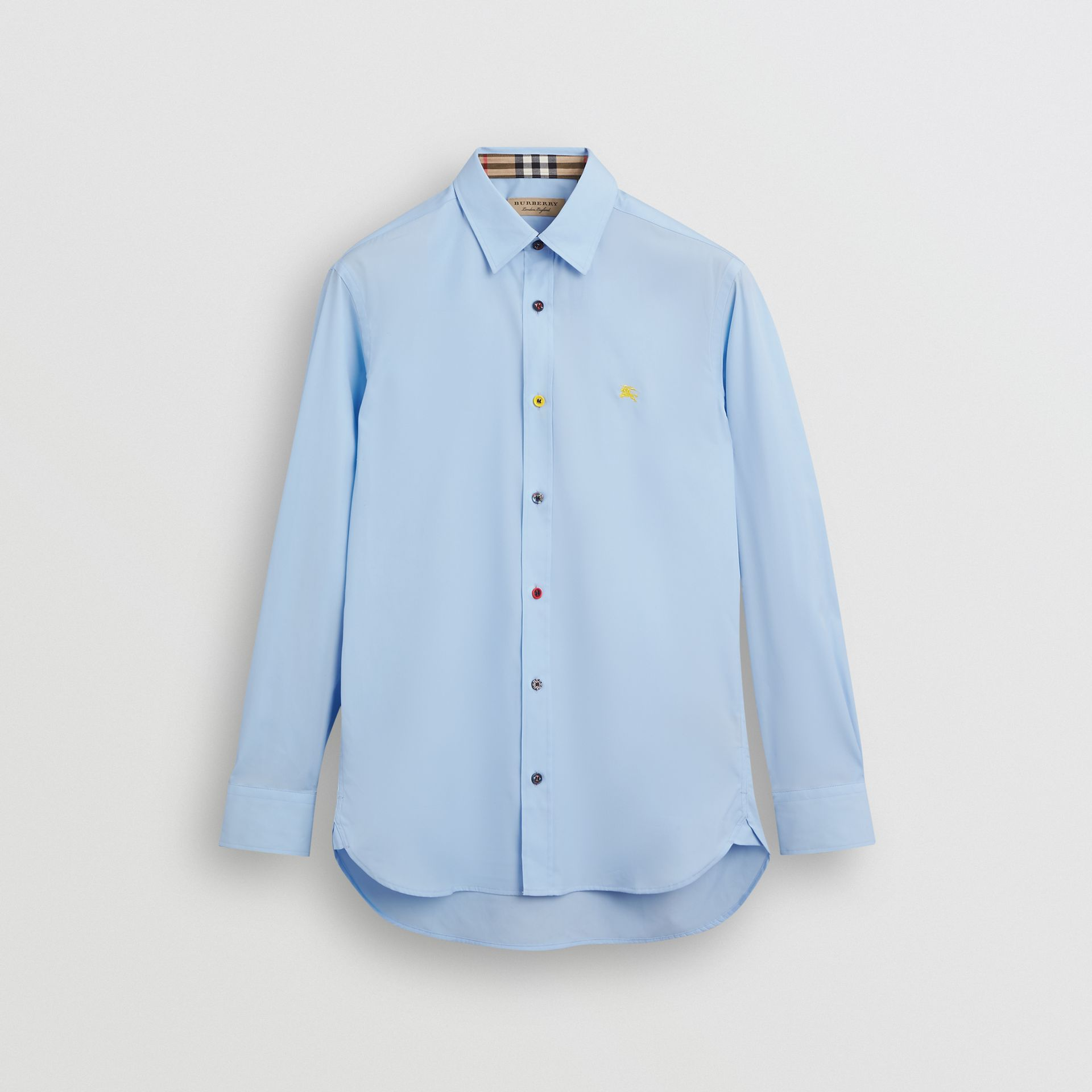 Contrast Button Stretch Cotton Shirt in Pale Blue - Men | Burberry Hong Kong S.A.R - gallery image 3
