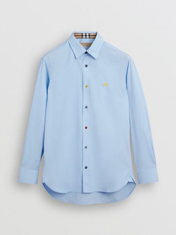 Hemd aus Stretchbaumwolle mit kontrastierenden Knöpfen (Hellblau)