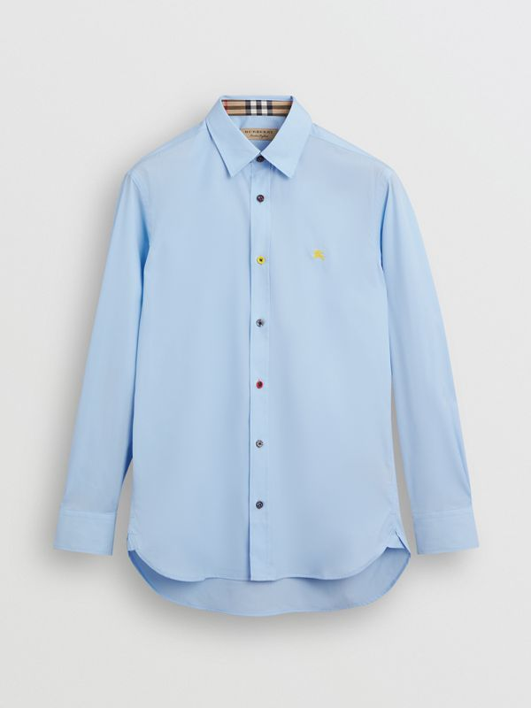 Contrast Button Stretch Cotton Shirt in Pale Blue - Men | Burberry Hong Kong S.A.R - cell image 3