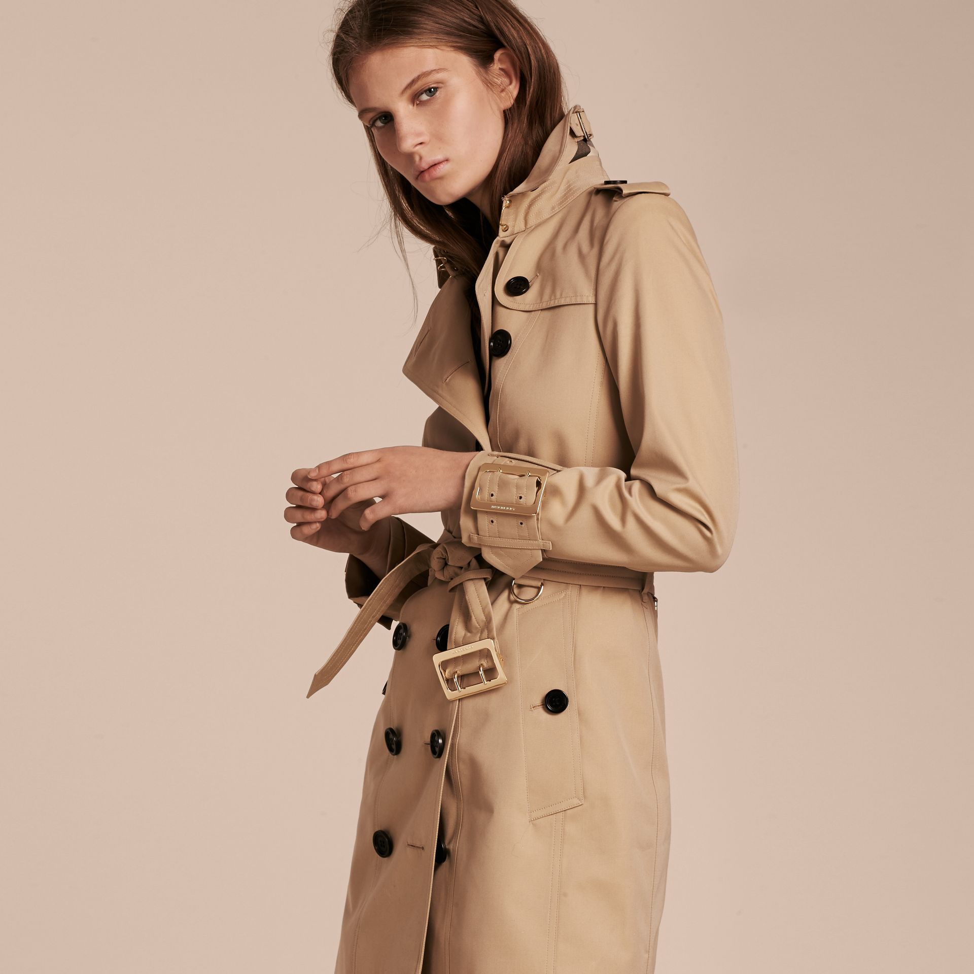 Honey Cotton Gabardine Trench Coat with Oversize Buckle Detail Honey - gallery image 7