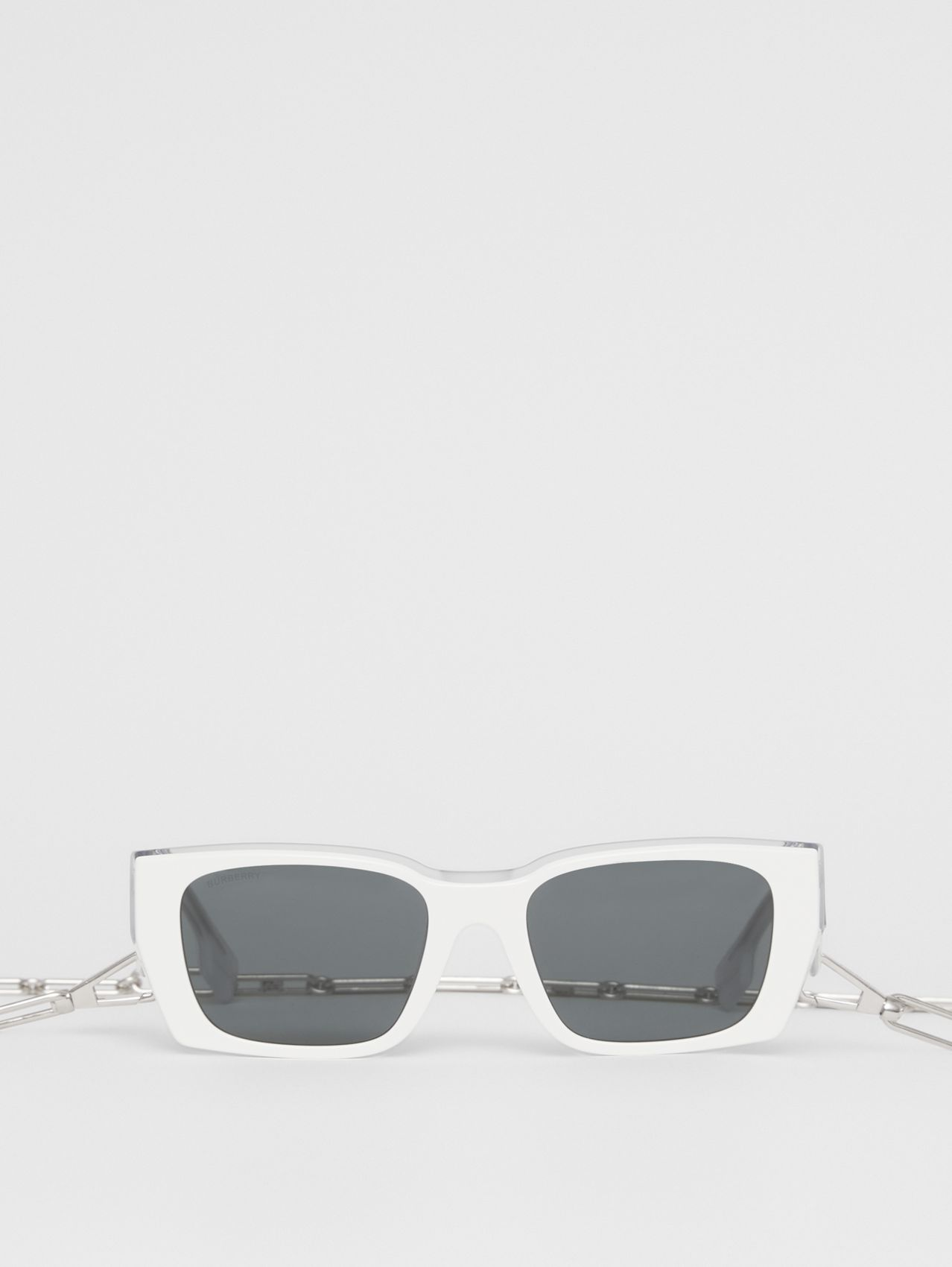 B Motif Rectangular Frame Sunglasses with Chain in White