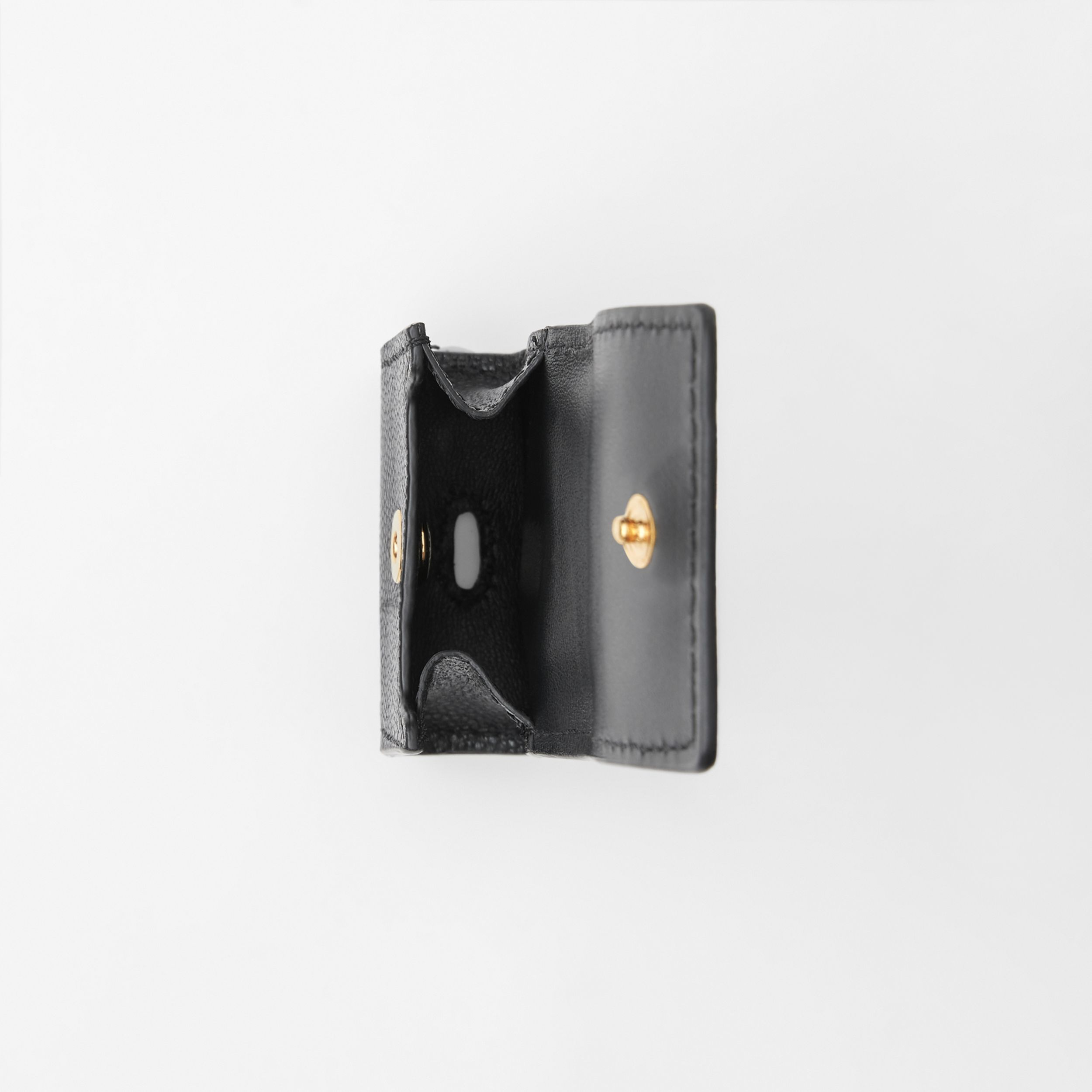 Grainy Leather AirPods Case in Black | Burberry - 3