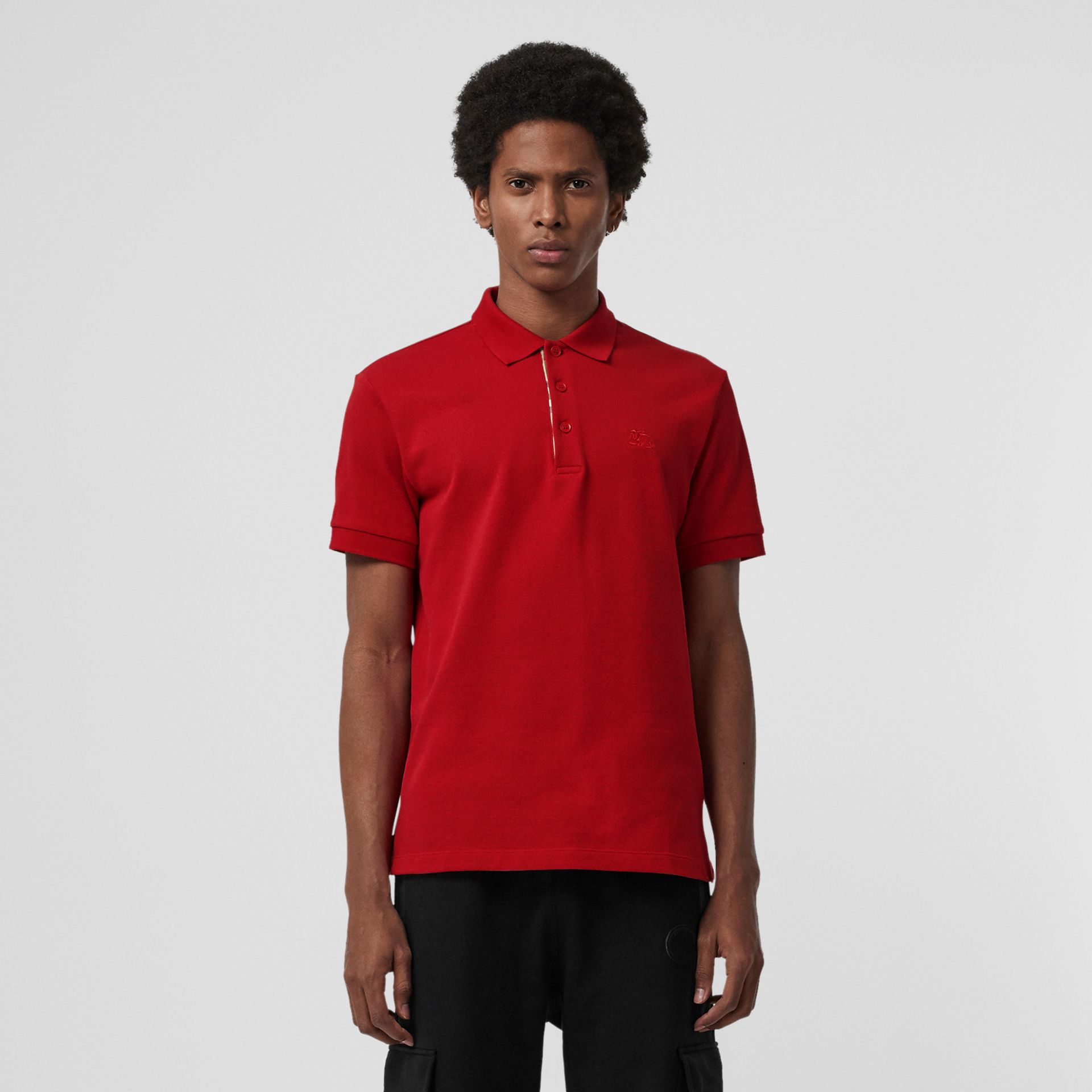 Check Placket Cotton Polo Shirt in Military Red - Men | Burberry - gallery image 1