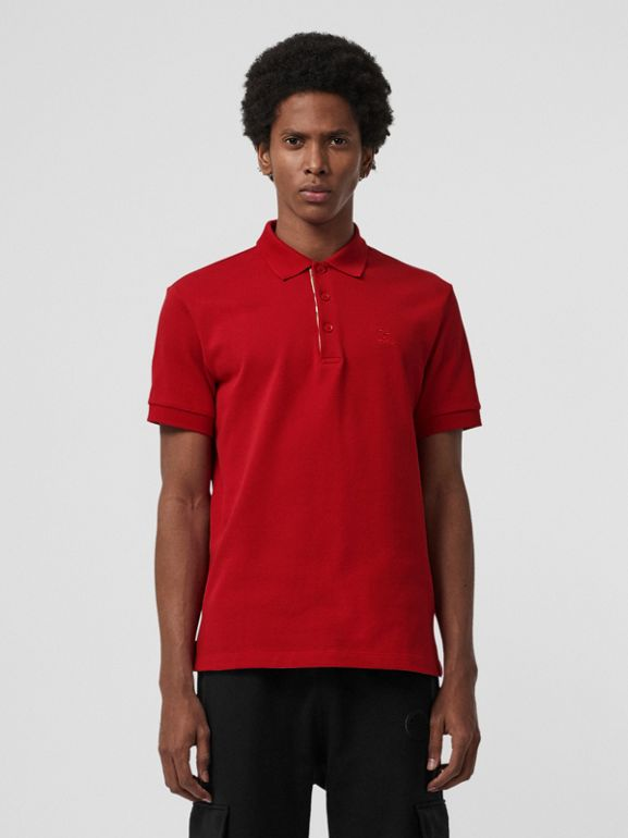 Check Placket Cotton Polo Shirt in Military Red - Men | Burberry - cell image 1