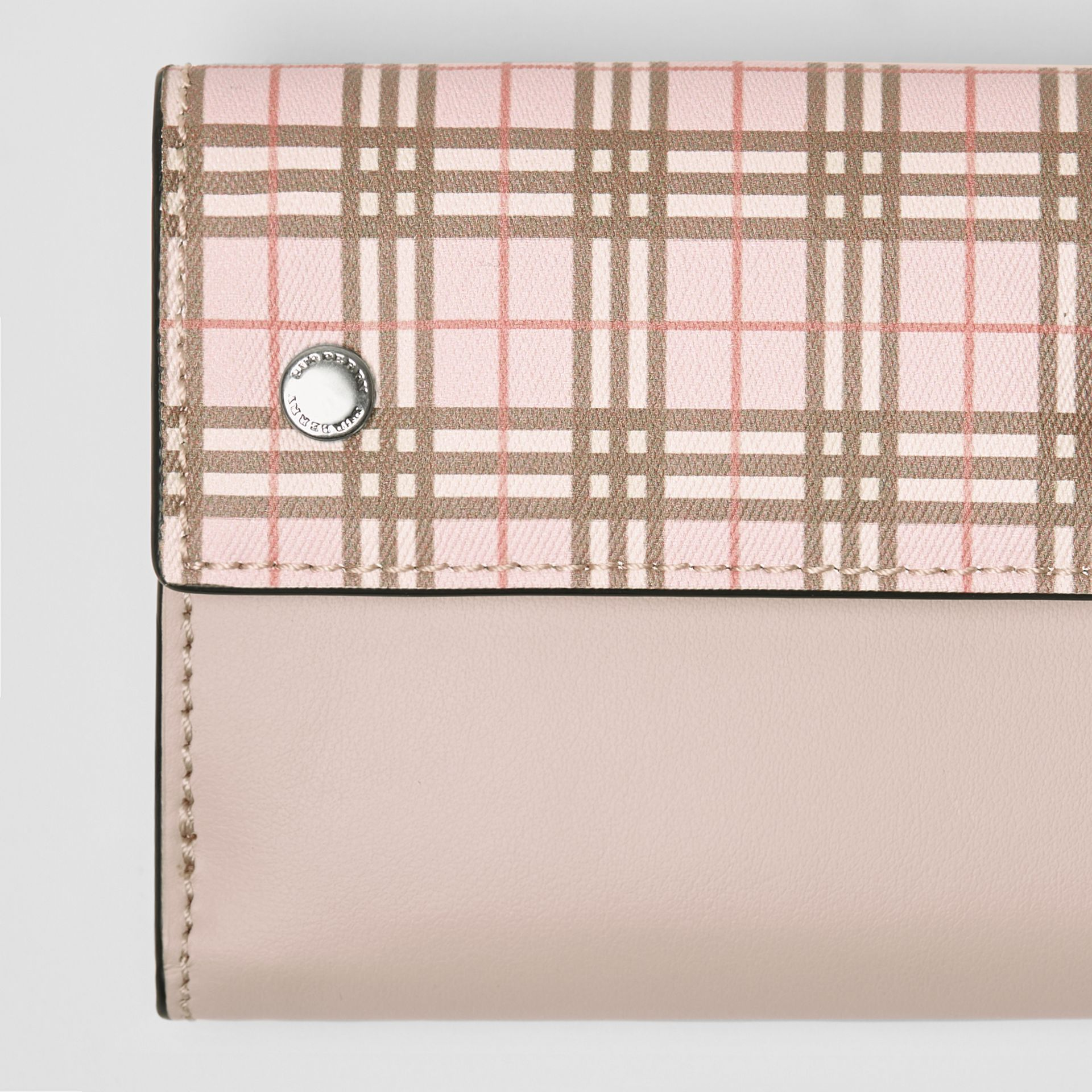 Small Scale Check and Leather Folding Wallet in Ice Pink - Women | Burberry - gallery image 1