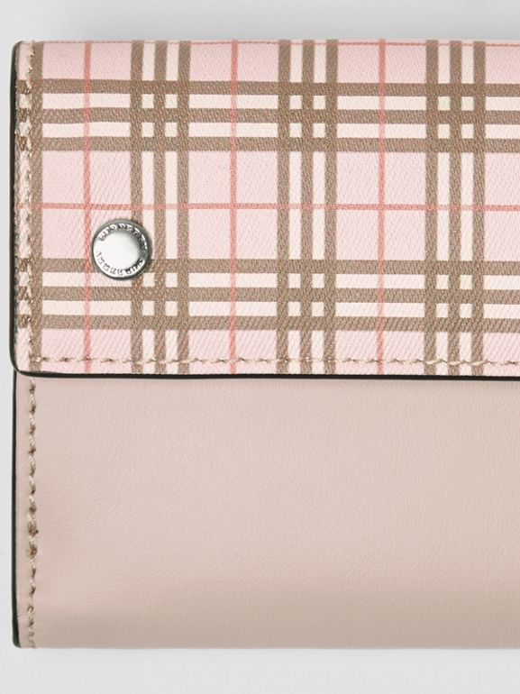 Small Scale Check and Leather Folding Wallet in Ice Pink - Women | Burberry Australia - cell image 1