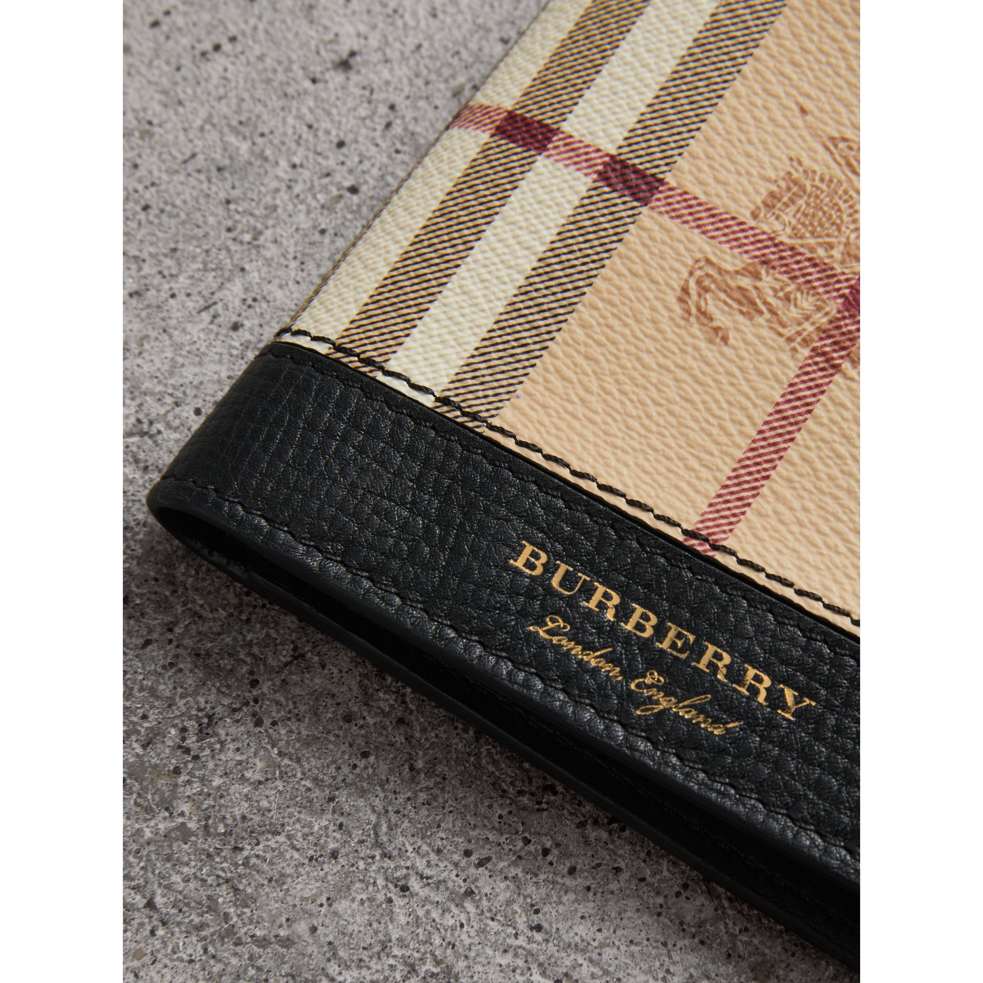 Haymarket Check and Leather ID Wallet in Black - Men | Burberry - gallery image 1