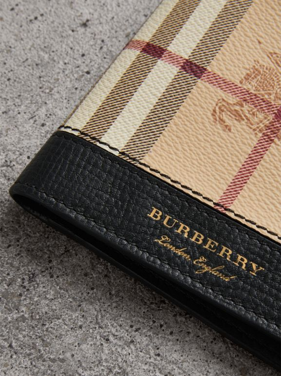 Haymarket Check and Leather ID Wallet in Black - Men | Burberry Australia - cell image 1