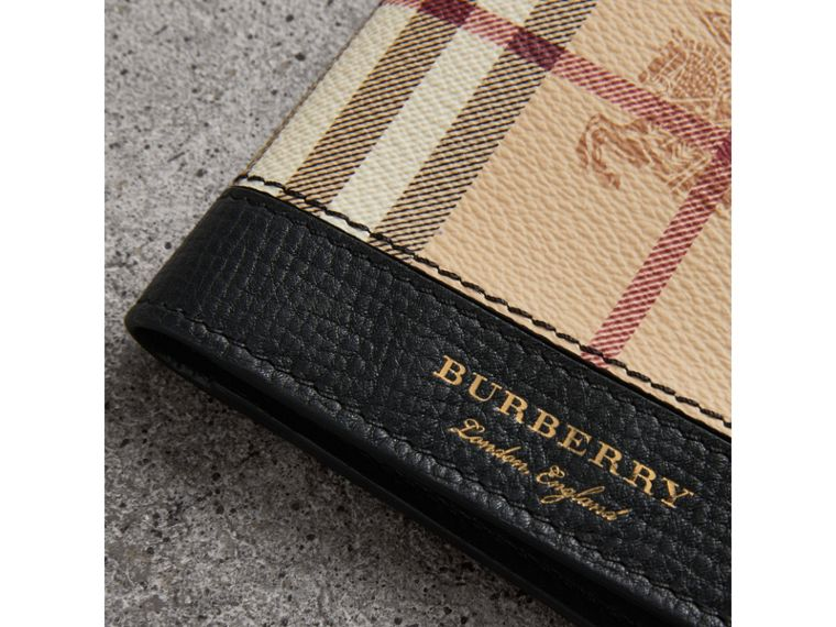Haymarket Check and Leather ID Wallet in Black - Men | Burberry - cell image 1