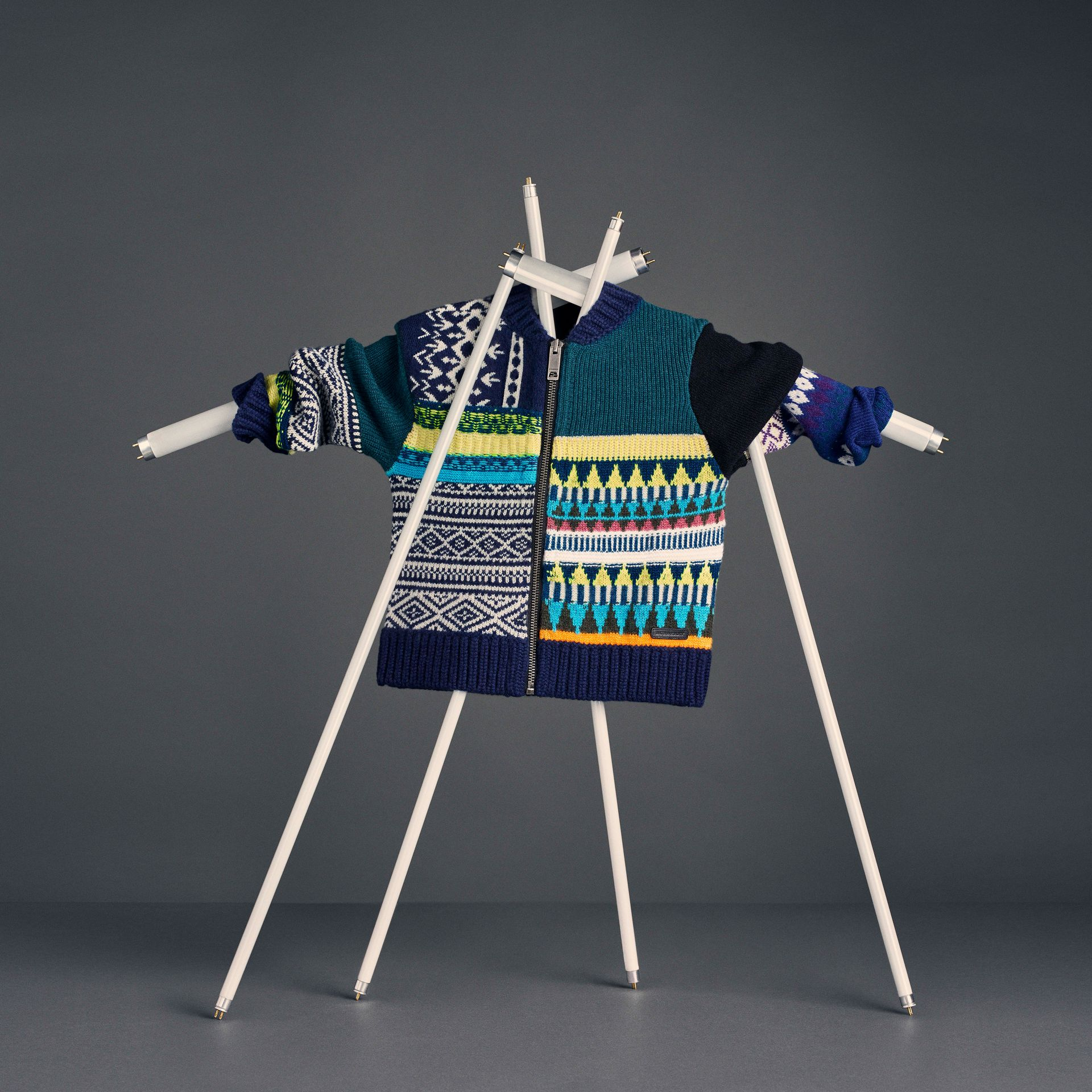 Fair Isle Wool Cashmere Patchwork Bomber Jacket in Navy - Boy | Burberry - gallery image 5