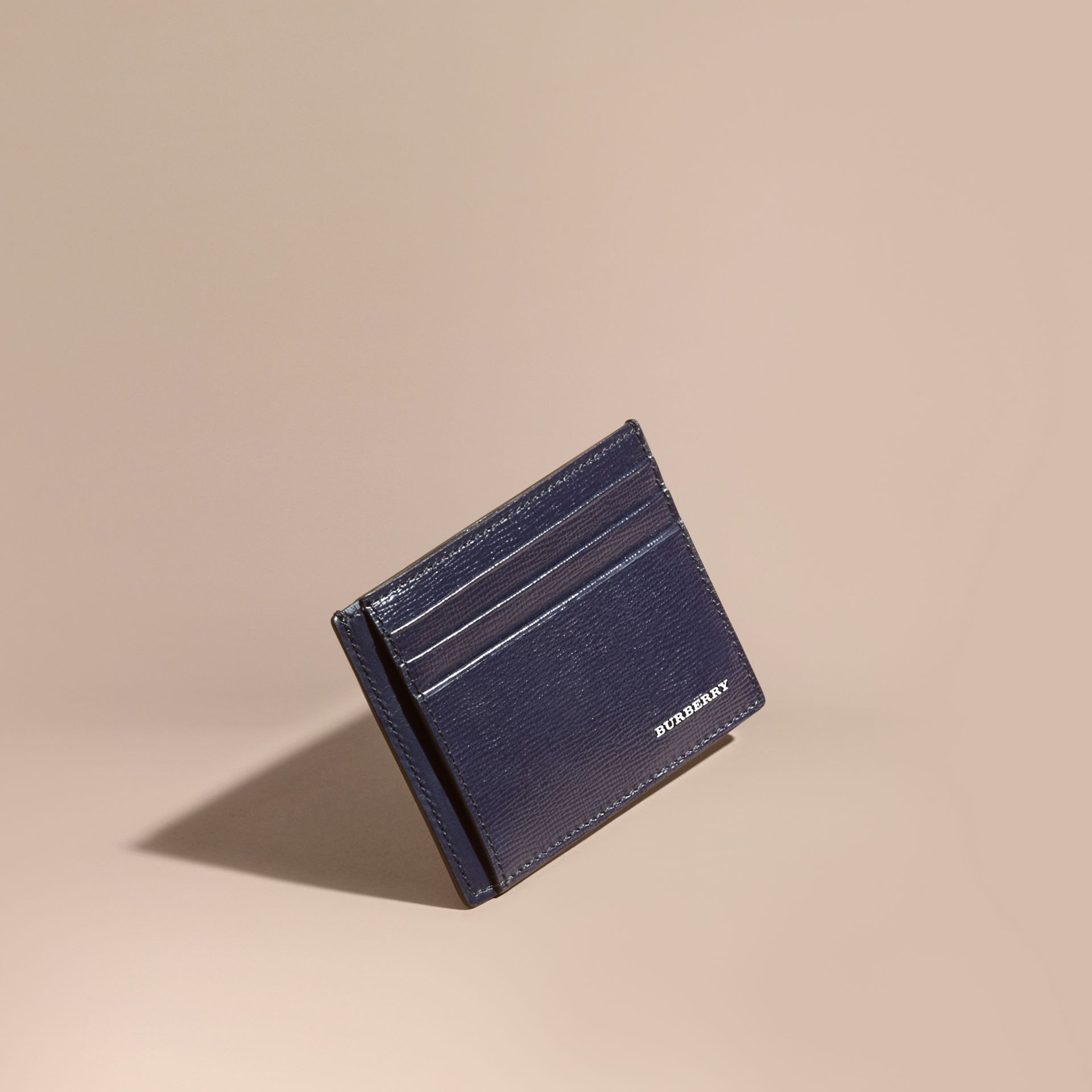 London Leather Card Case in Dark Navy | Burberry - gallery image 0