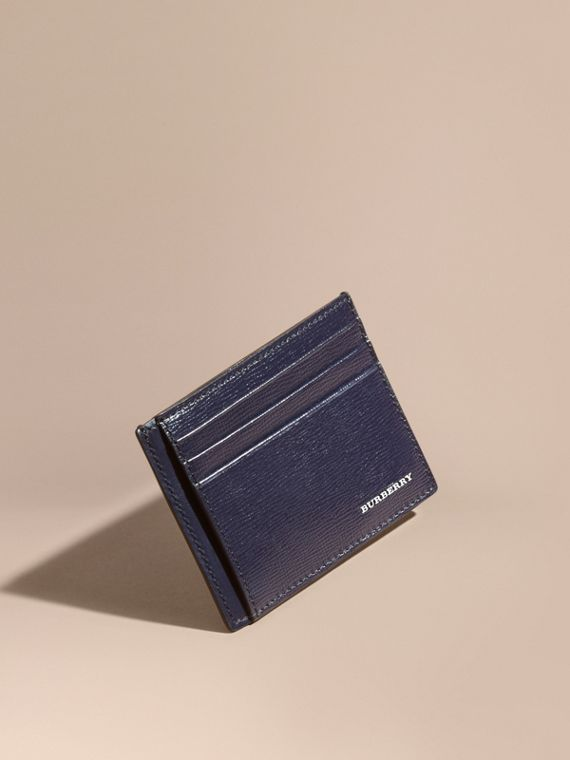 London Leather Card Case in Dark Navy