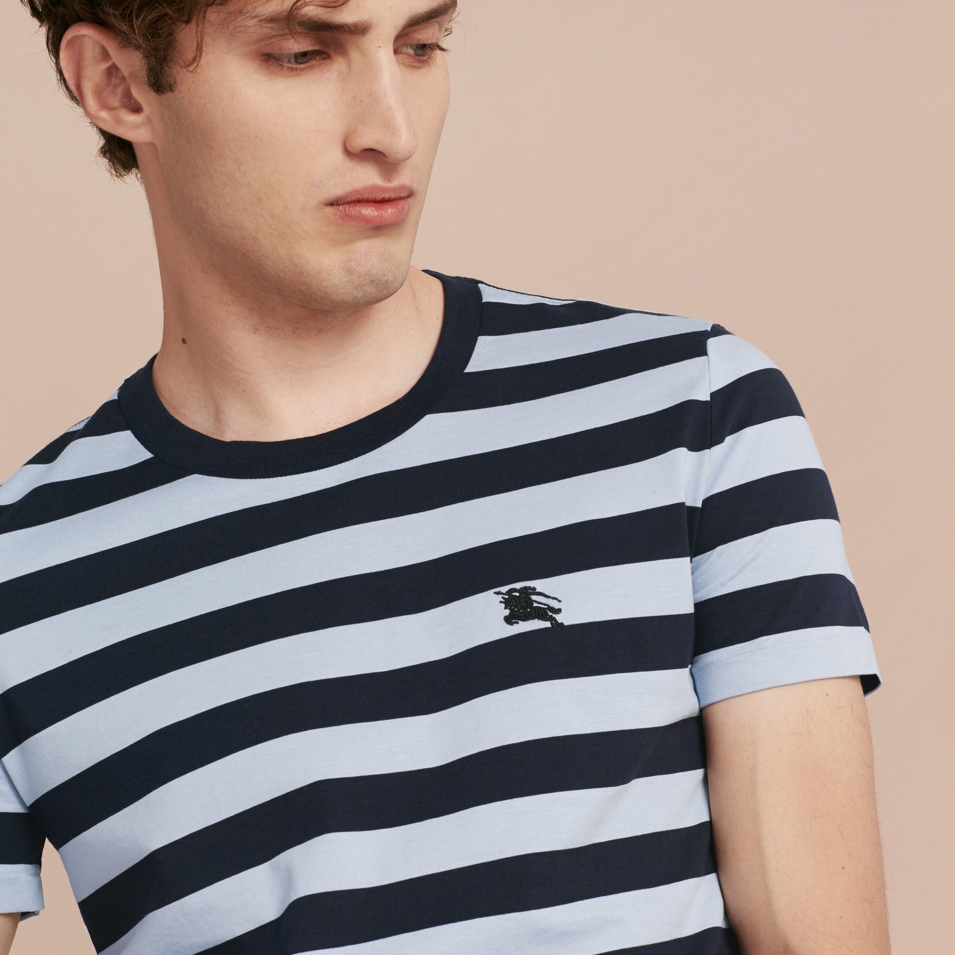 Navy T-shirt in cotone a righe Navy - immagine della galleria 5