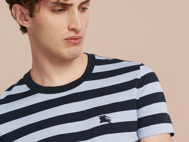 Navy Striped Cotton T-Shirt Navy - cell image 4