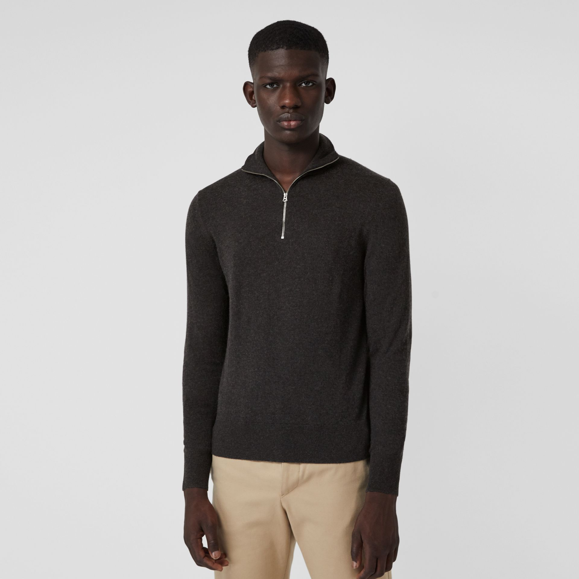 Zip-neck Cashmere Cotton Sweater in Charcoal - Men | Burberry United States - gallery image 4