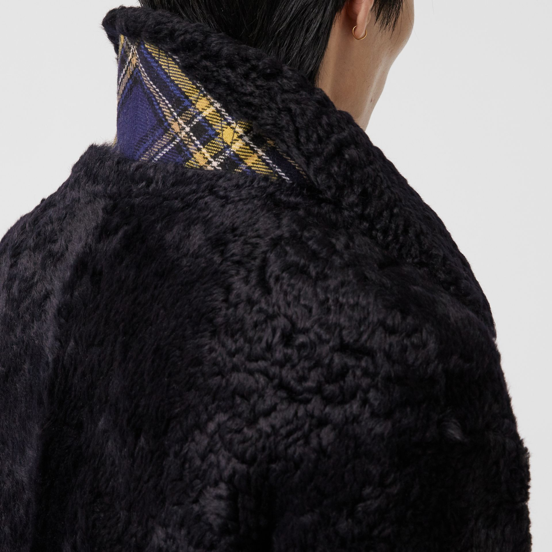 Curly Shearling Coat in Navy - Men | Burberry - gallery image 4