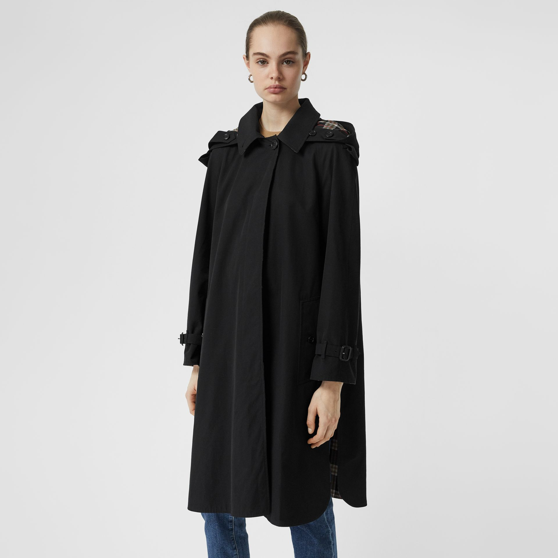 Detachable Hood Tropical Gabardine Car Coat in Black - Women | Burberry United States - gallery image 6