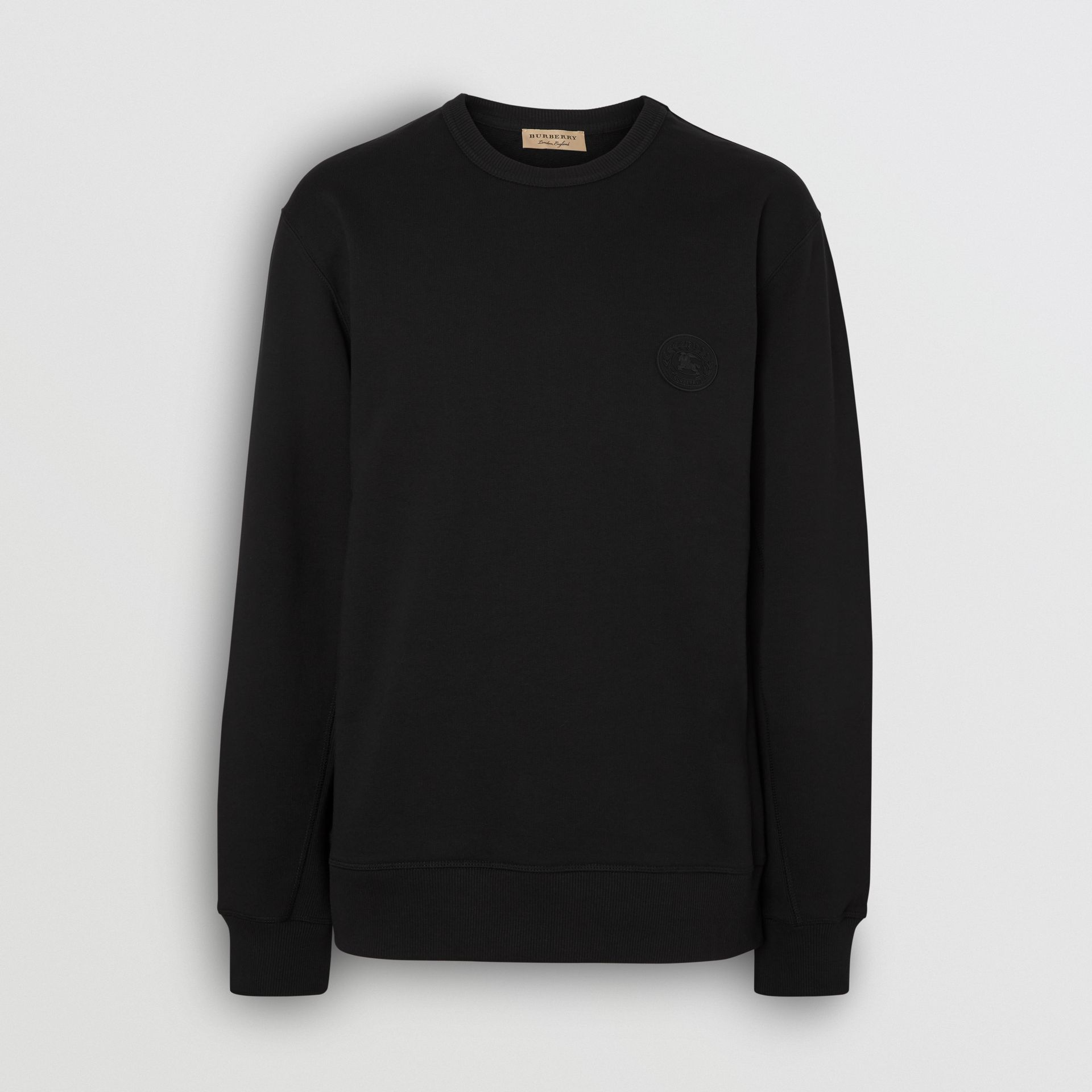 Embroidered Crest Cotton Sweatshirt in Black - Men | Burberry United Kingdom - gallery image 3