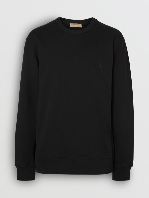 Embroidered Crest Cotton Sweatshirt in Black - Men | Burberry Canada - cell image 3