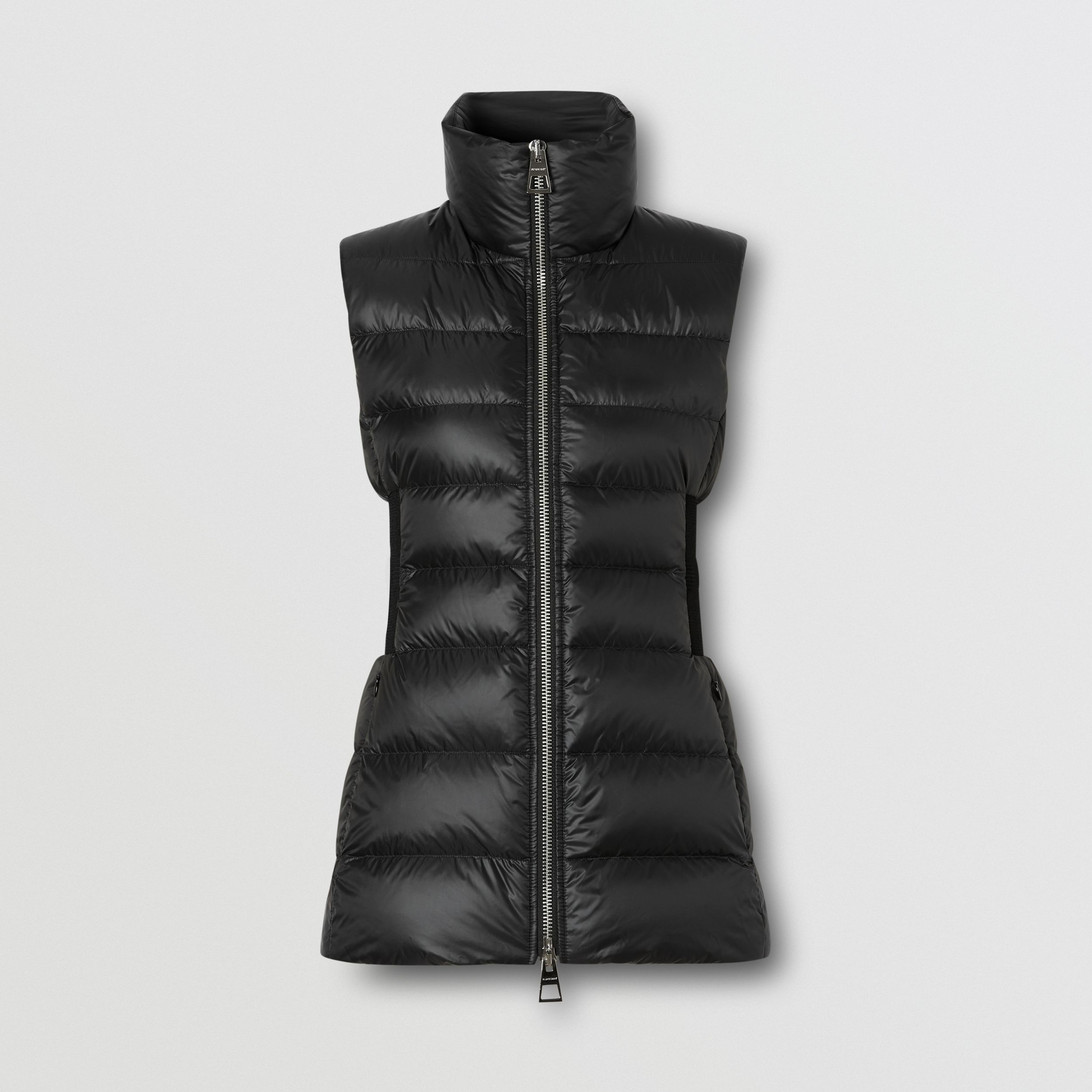 Rib Knit Panel ECONYL® Puffer Gilet in Black - Women | Burberry - 4
