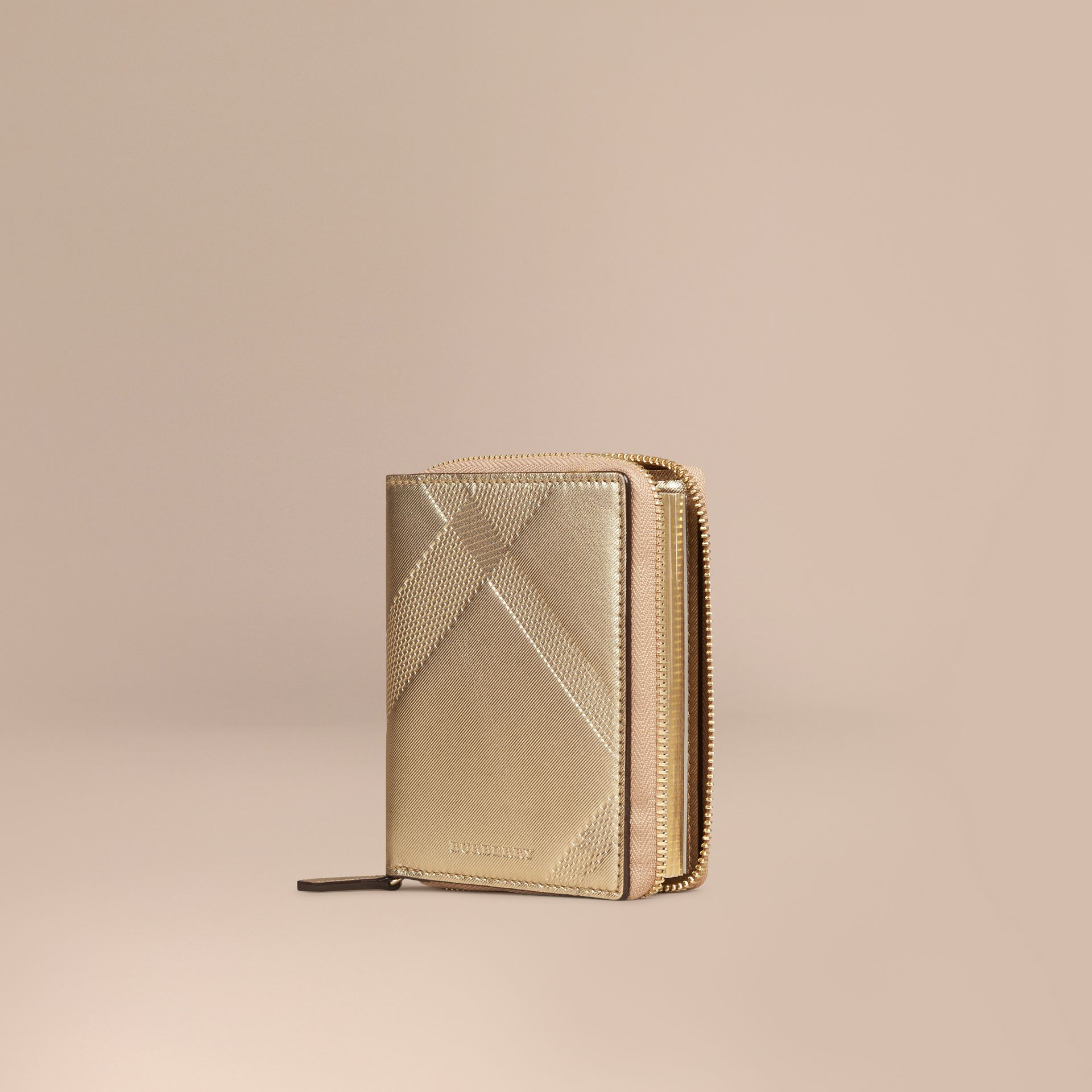 Gold Ziparound Check-embossed Metallic Leather Mini Notebook - gallery image 1