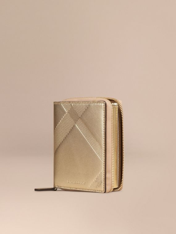 Ziparound Check-embossed Metallic Leather Mini Notebook
