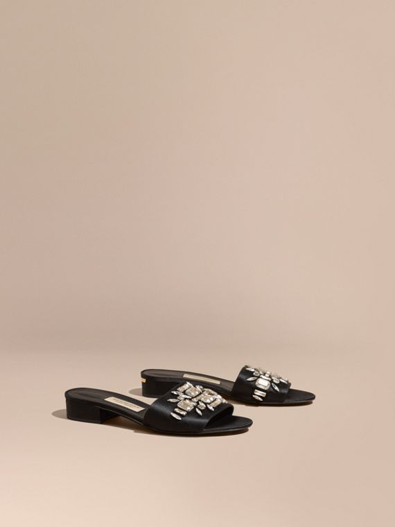 Technical Gem-embellished Slip-on Sandals