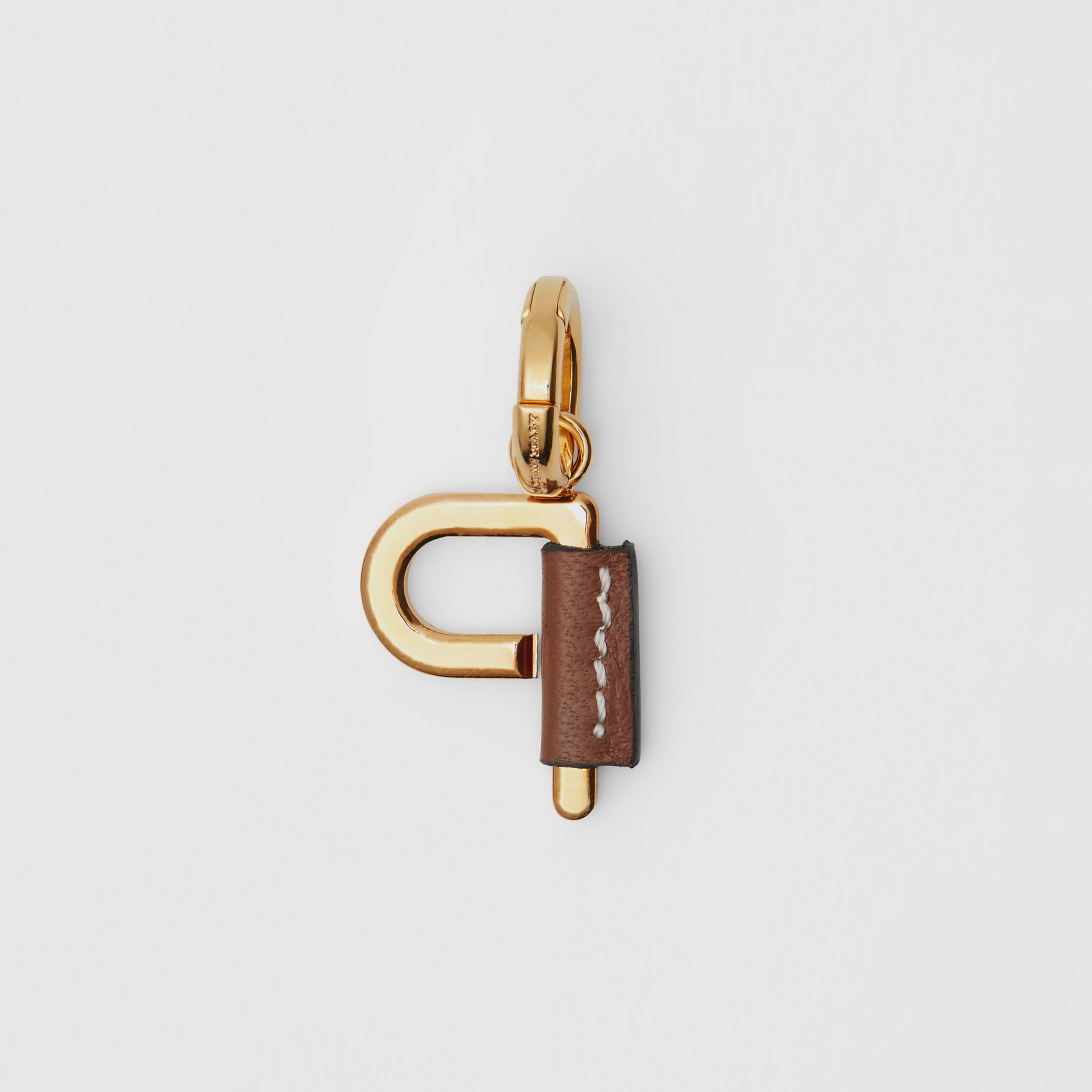 Leather-wrapped 'P' Alphabet Charm in Light Gold/tan - Women | Burberry - 4