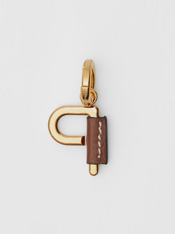 Leather-wrapped 'P' Alphabet Charm in Light Gold/tan - Women | Burberry Australia - cell image 3