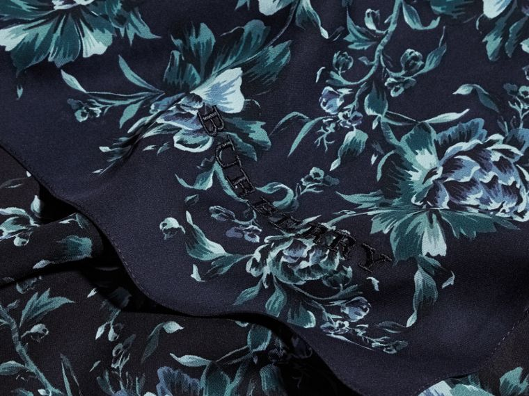 Peony Rose Print Silk Scarf in Ink - Women | Burberry - cell image 1