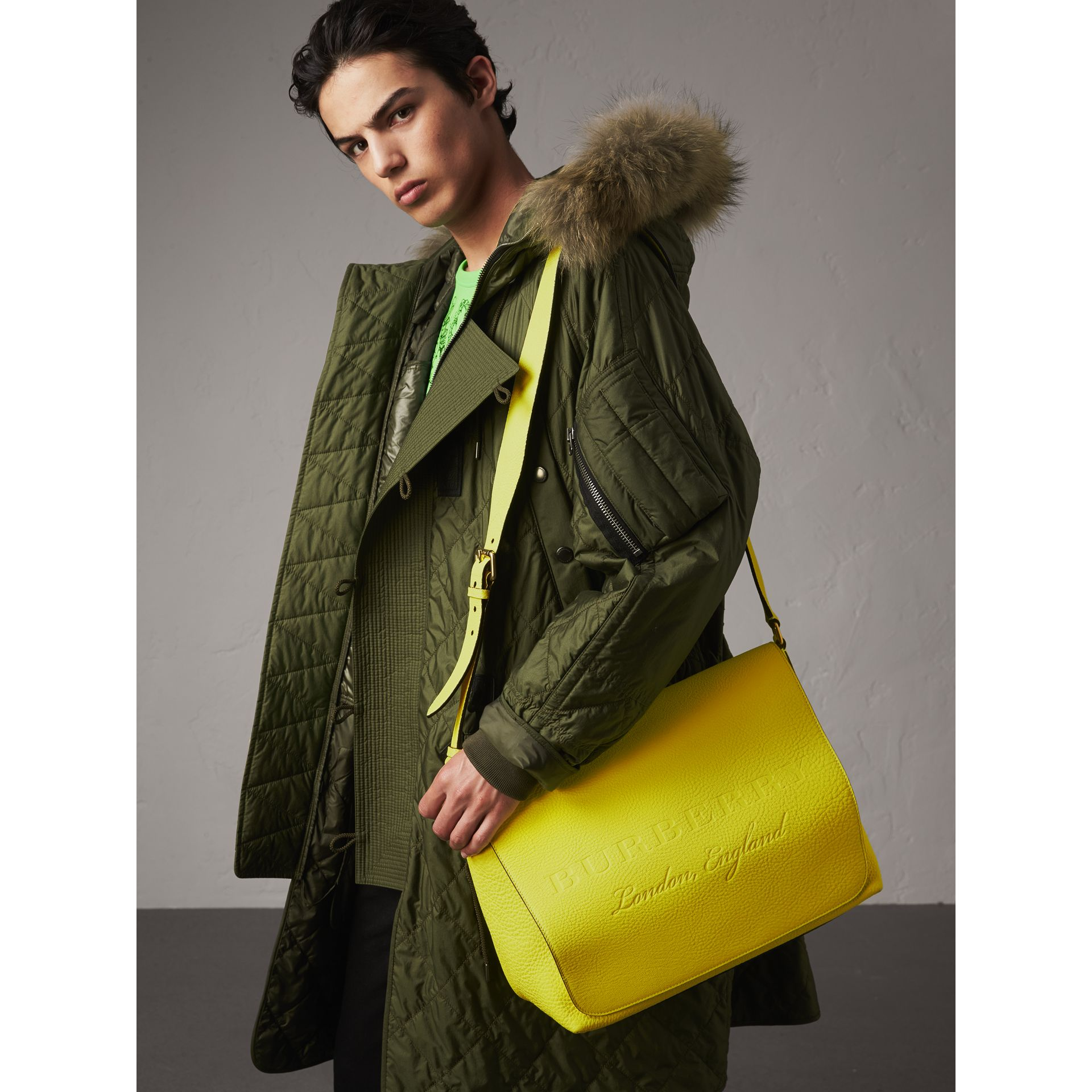Large Embossed Leather Messenger Bag in Neon Yellow | Burberry - gallery image 3