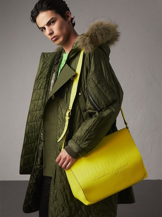 Large Embossed Leather Messenger Bag in Neon Yellow | Burberry - cell image 3