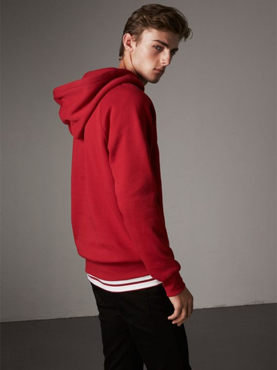 Embroidered Hooded Sweatshirt in Parade Red - Men | Burberry - cell image 2