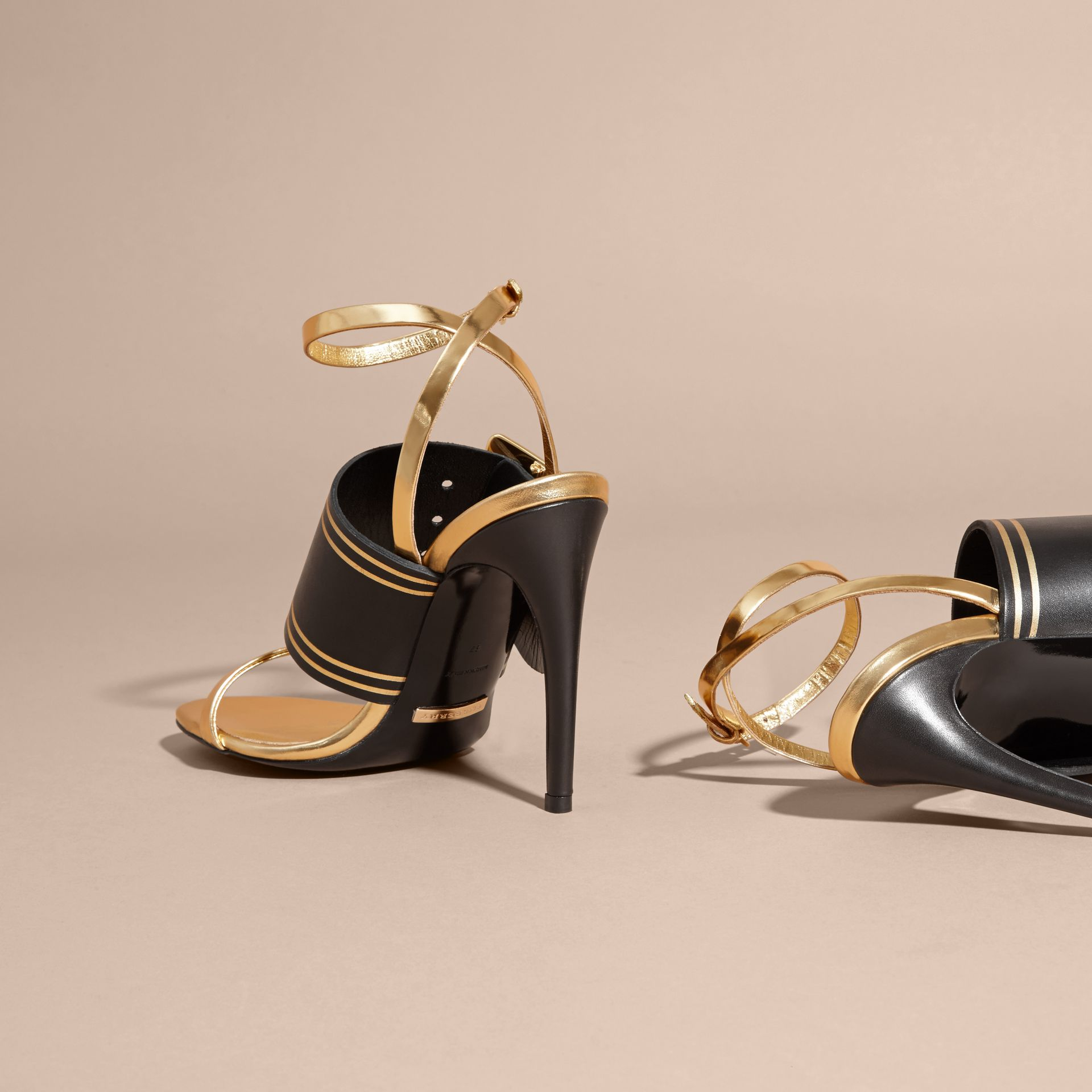 Two-tone Leather Sandals with Buckles - Women | Burberry - gallery image 4