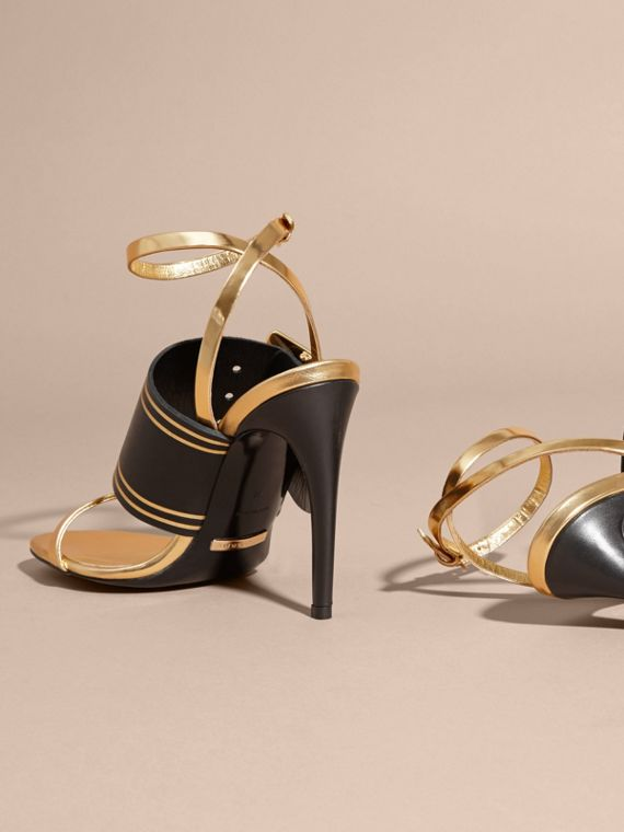 Two-tone Leather Sandals with Buckles - Women | Burberry - cell image 3