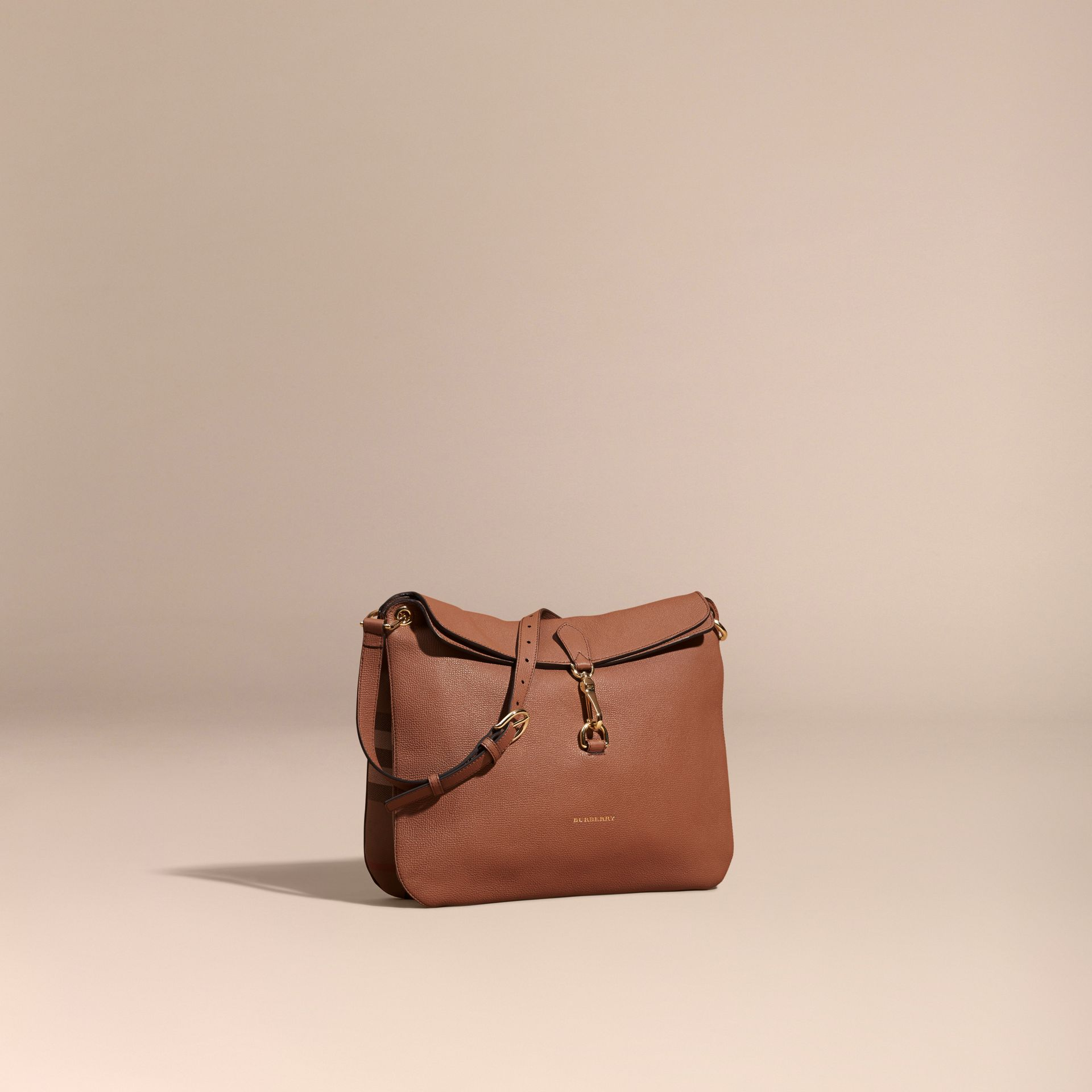 Dark sand Grainy Leather and House Check Shoulder Bag Dark Sand - gallery image 1
