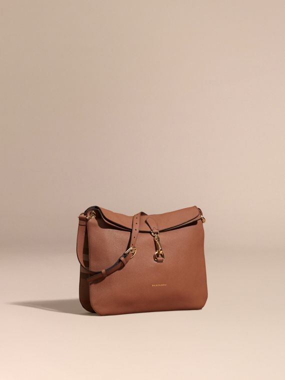 Grainy Leather and House Check Shoulder Bag Dark Sand