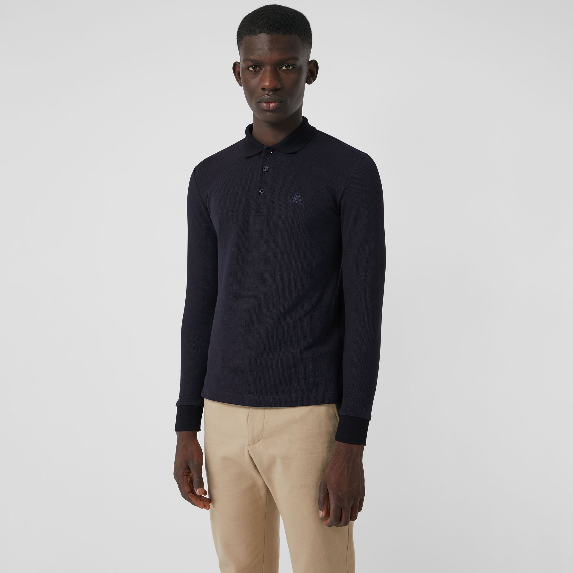 Long-sleeve Cotton Piqué Polo Shirt in Navy - Men | Burberry Australia - gallery image 0