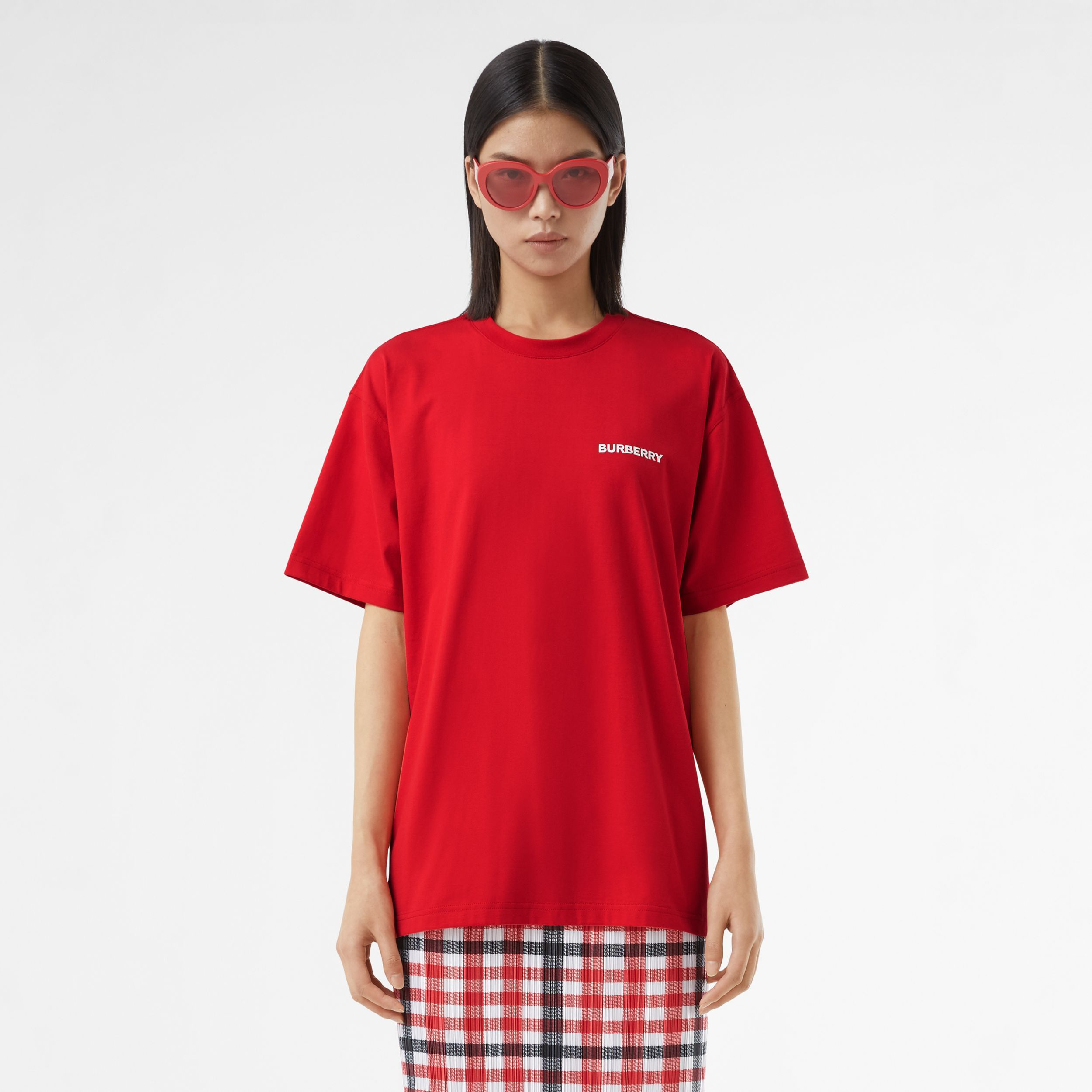 Montage Print Cotton T-shirt – Unisex in Bright Red | Burberry - 4