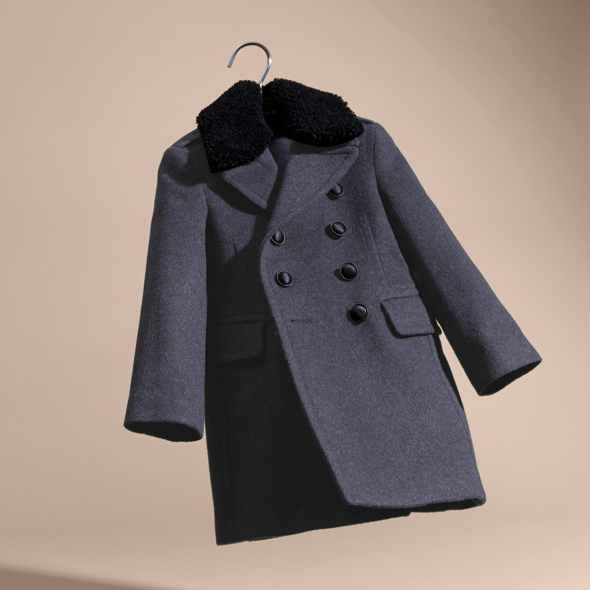Airforce blue Technical Wool Coat with Detachable Shearling Collar - gallery image 6