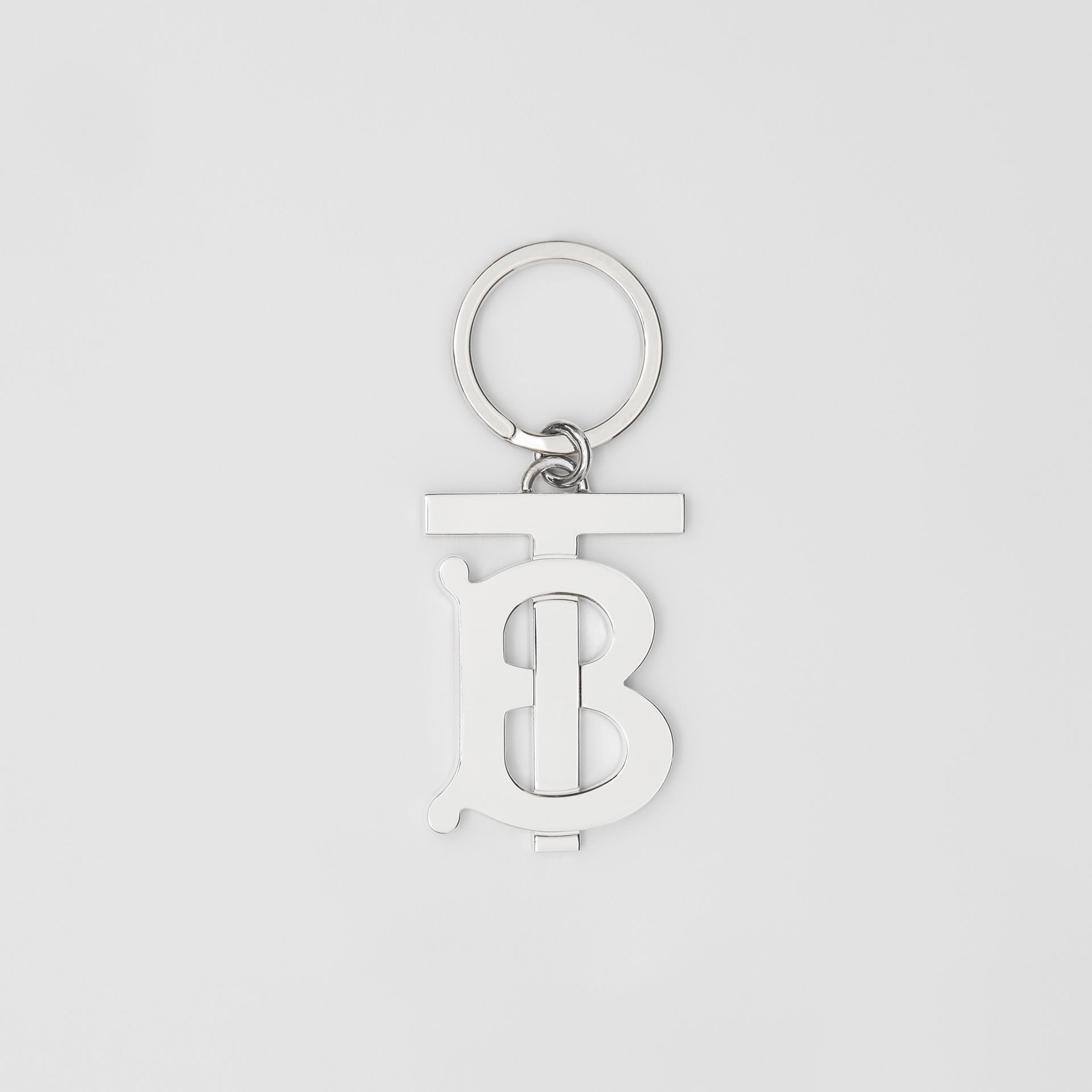 Monogram Motif Palladium-plated Key Ring in Silver - Men | Burberry United States - gallery image 0
