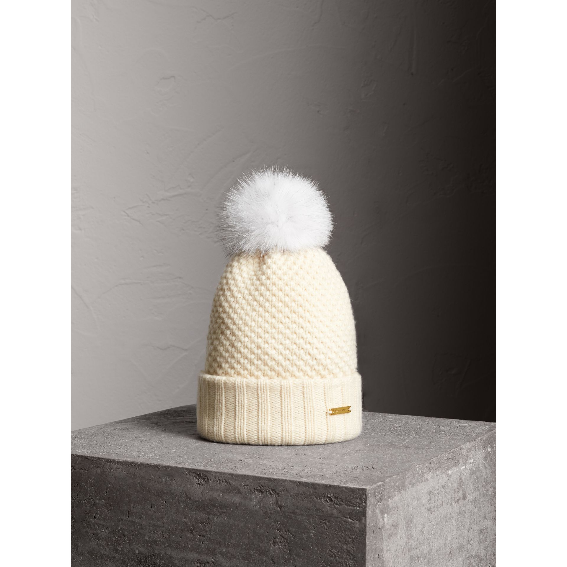 Fur Pom-Pom Beanie in Ivory - Women | Burberry - gallery image 1